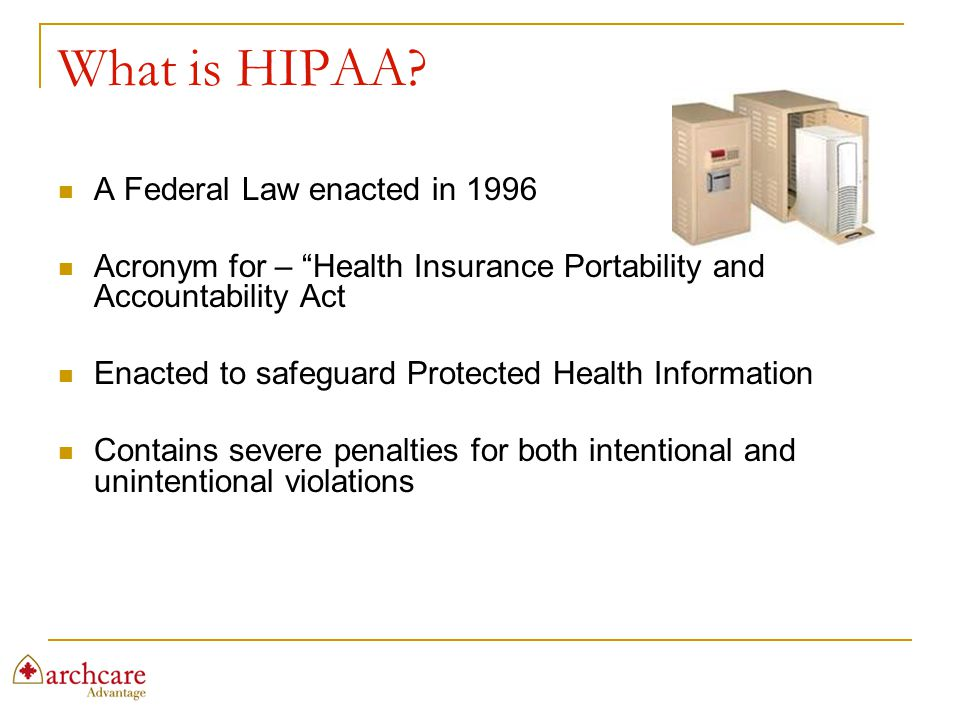 What is HIPAA A Federal Law enacted in 1996
