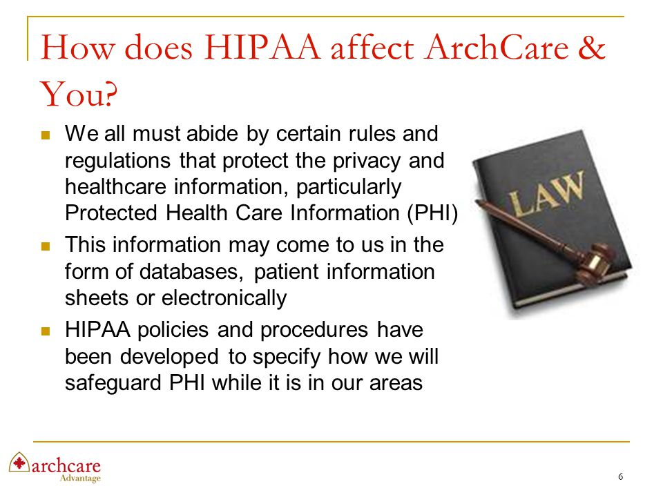 How does HIPAA affect ArchCare & You