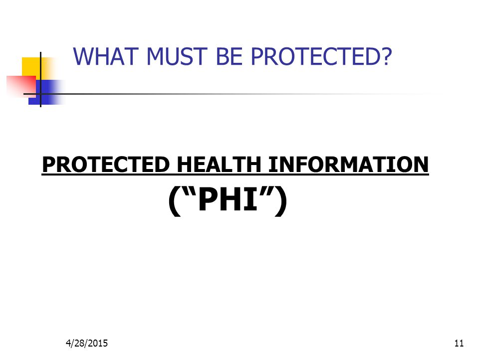 WHAT MUST BE PROTECTED PROTECTED HEALTH INFORMATION ( PHI ) 4/13/2017