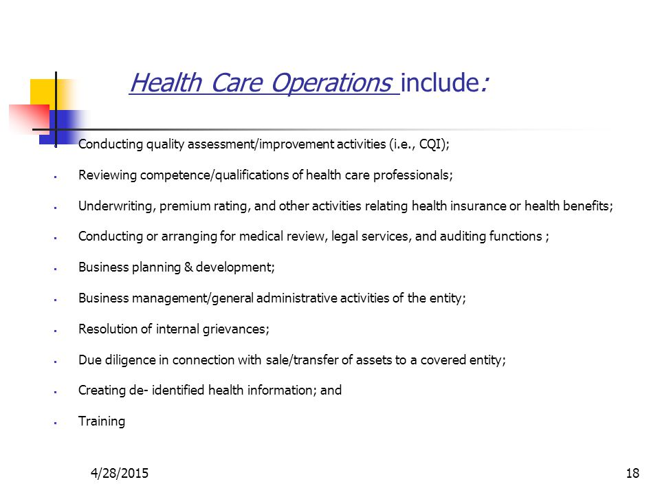 Health Care Operations include: