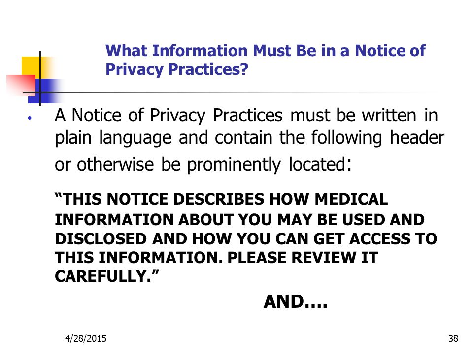 What Information Must Be in a Notice of Privacy Practices