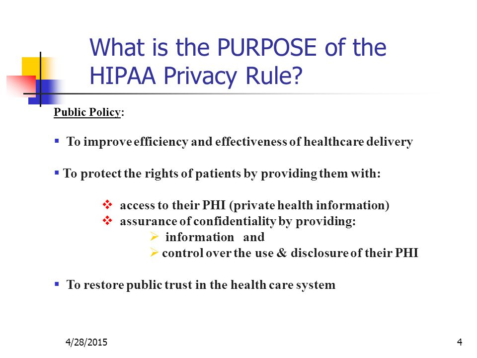 What is the PURPOSE of the HIPAA Privacy Rule