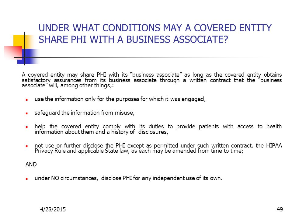 UNDER WHAT CONDITIONS MAY A COVERED ENTITY SHARE PHI WITH A BUSINESS ASSOCIATE