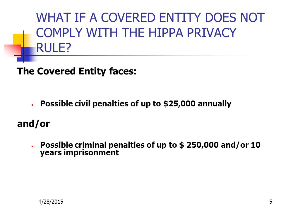WHAT IF A COVERED ENTITY DOES NOT COMPLY WITH THE HIPPA PRIVACY RULE