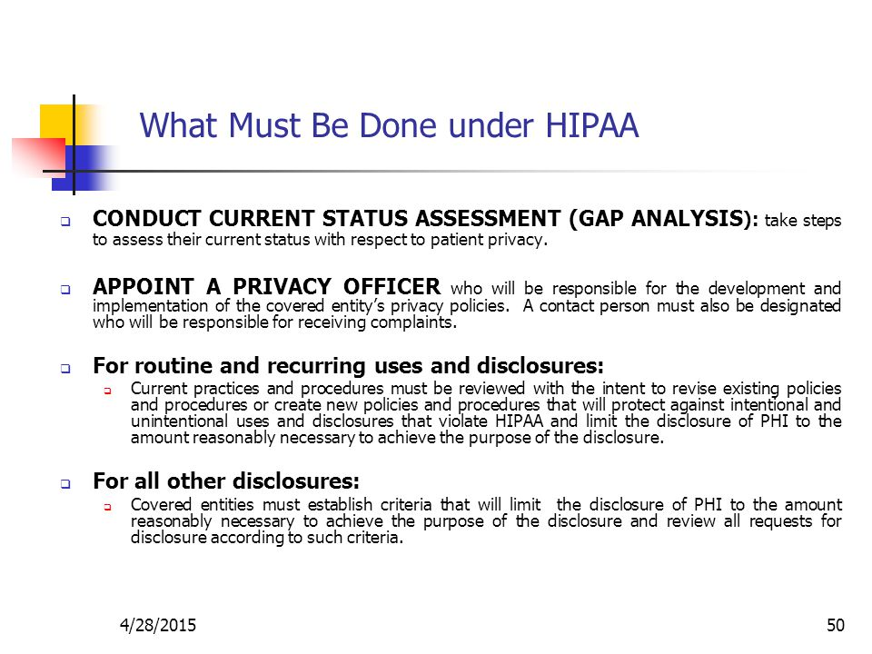 What Must Be Done under HIPAA