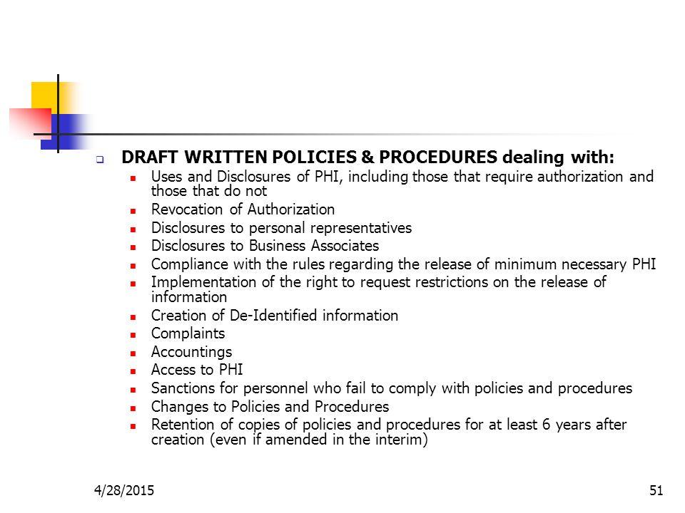DRAFT WRITTEN POLICIES & PROCEDURES dealing with: