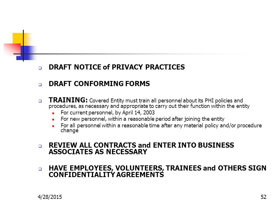DRAFT NOTICE of PRIVACY PRACTICES DRAFT CONFORMING FORMS