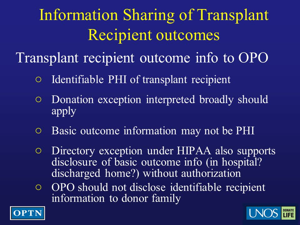 Information Sharing of Transplant Recipient outcomes