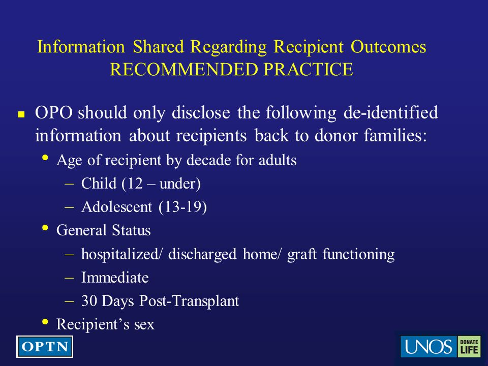 Information Shared Regarding Recipient Outcomes RECOMMENDED PRACTICE