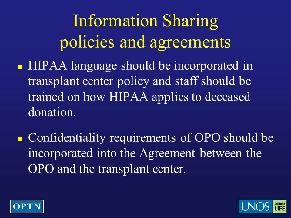 Information Sharing policies and agreements