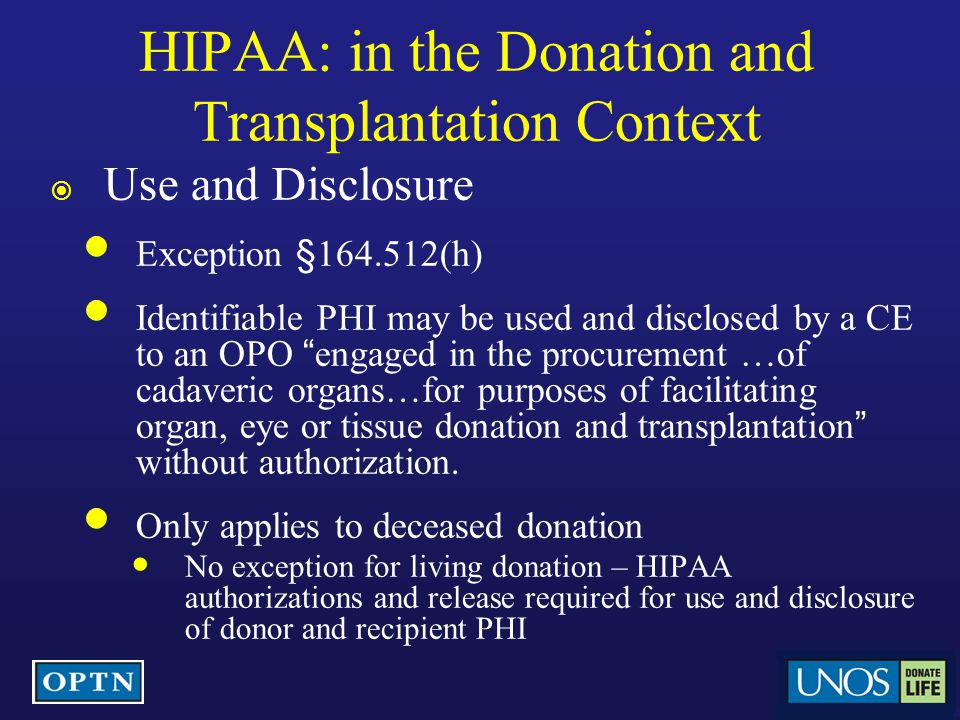 HIPAA: in the Donation and Transplantation Context