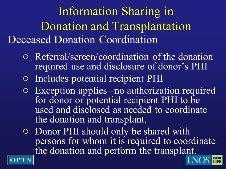 Information Sharing in Donation and Transplantation