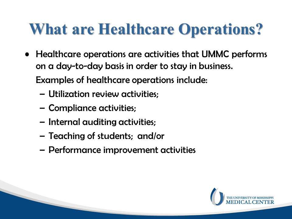 What are Healthcare Operations