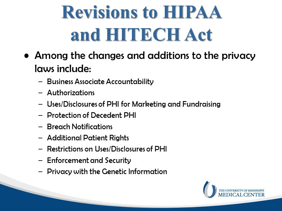 Revisions to HIPAA and HITECH Act