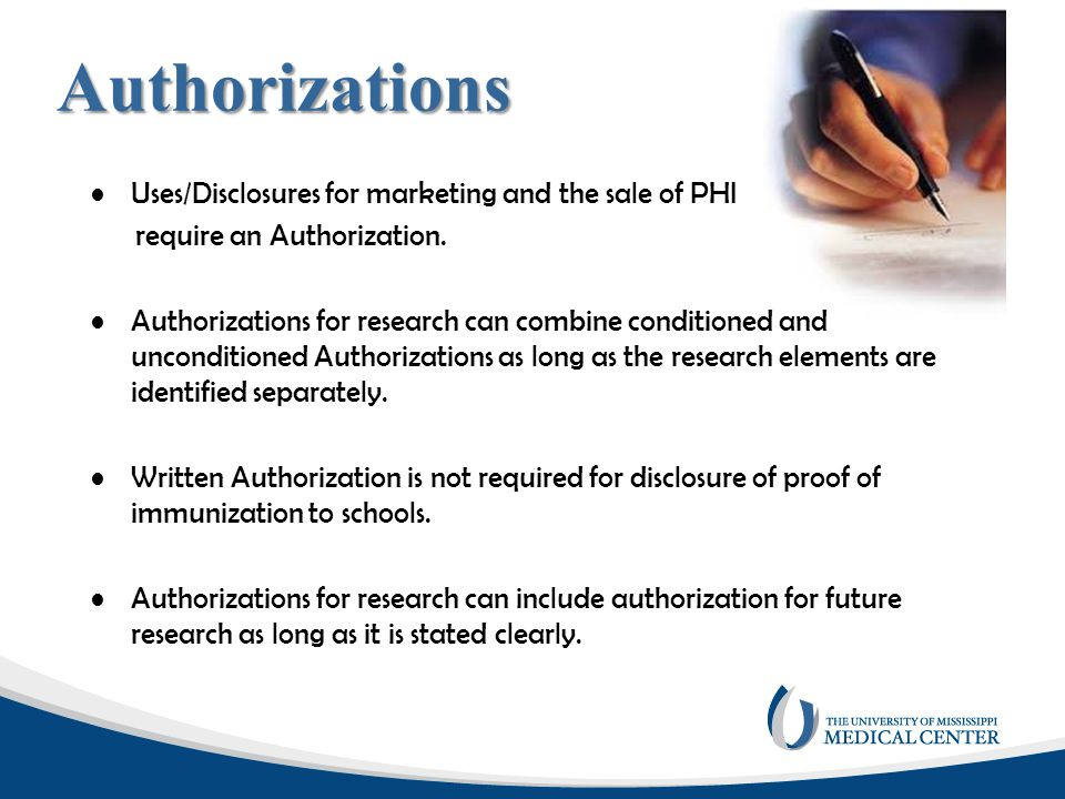 Authorizations Uses/Disclosures for marketing and the sale of PHI