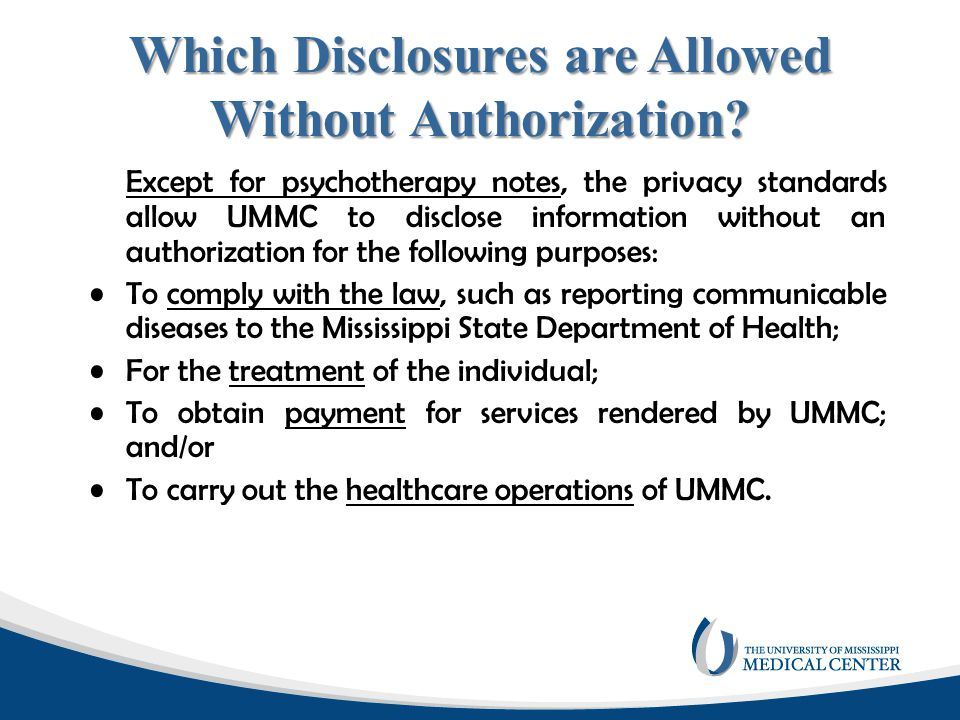 Which Disclosures are Allowed Without Authorization