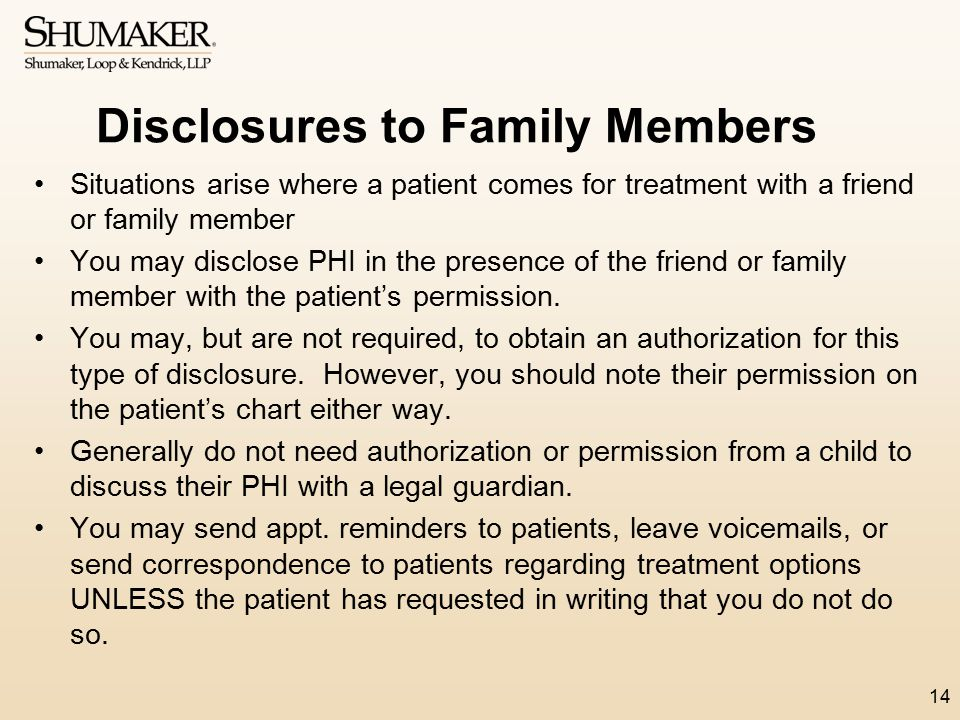 Disclosures to Family Members