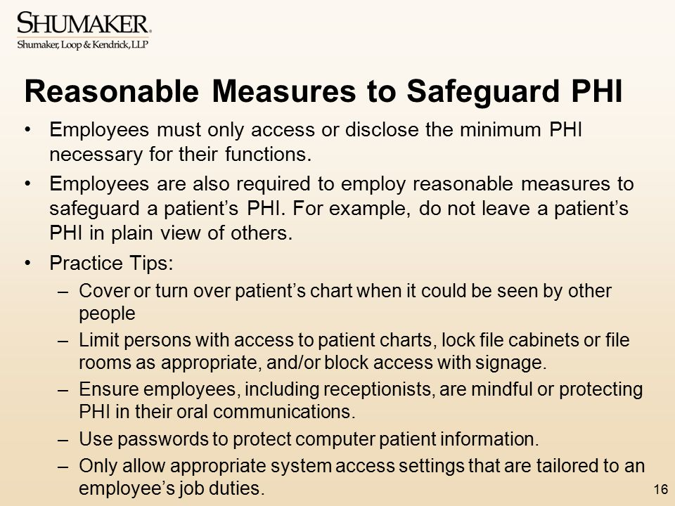 Reasonable Measures to Safeguard PHI