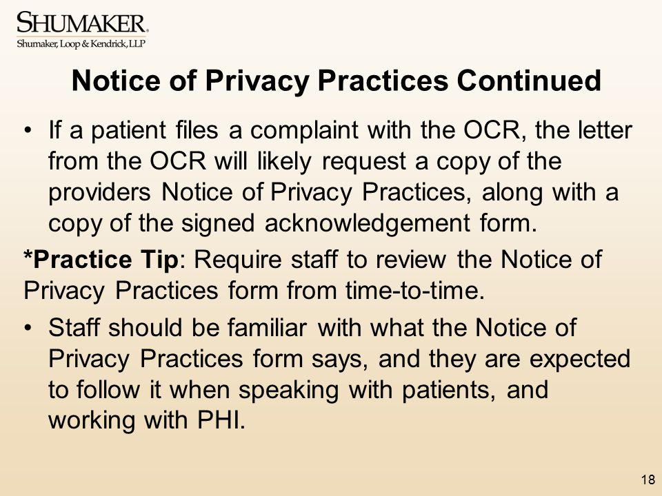 Notice of Privacy Practices Continued