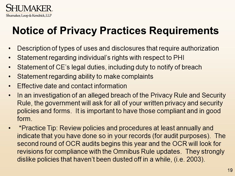 Notice of Privacy Practices Requirements