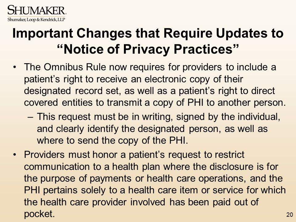 Important Changes that Require Updates to Notice of Privacy Practices