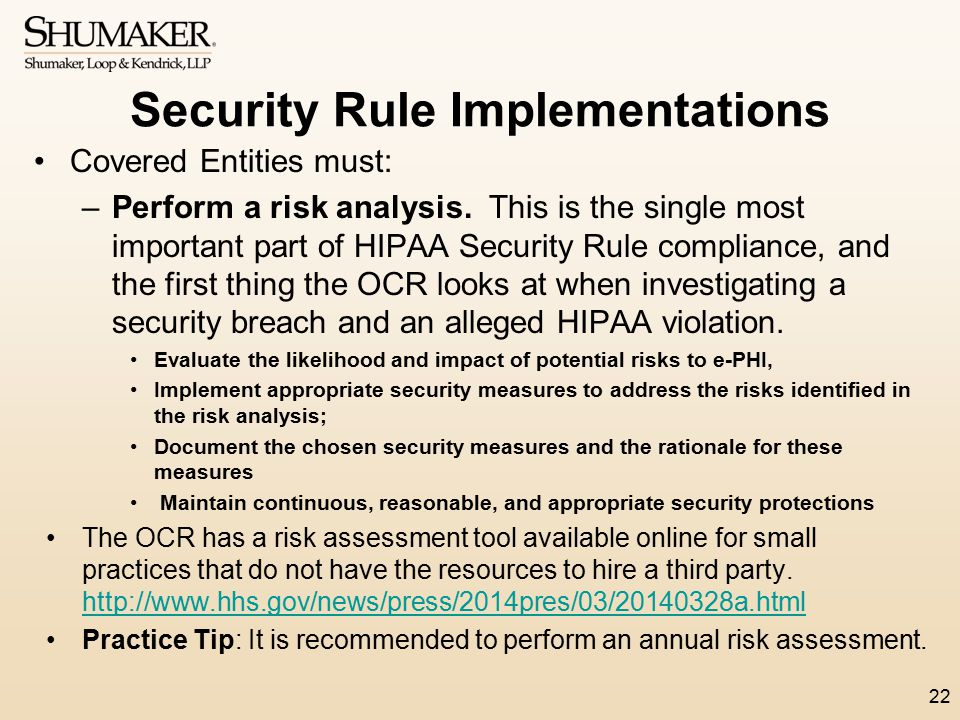 Security Rule Implementations