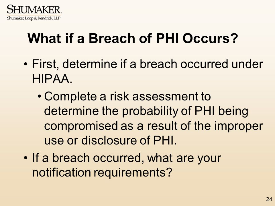 What if a Breach of PHI Occurs