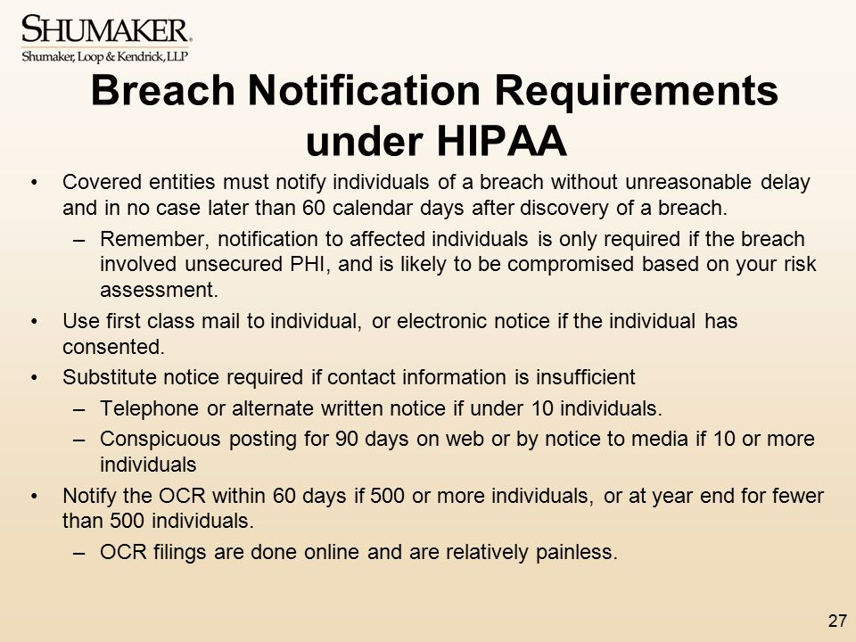 Breach Notification Requirements under HIPAA