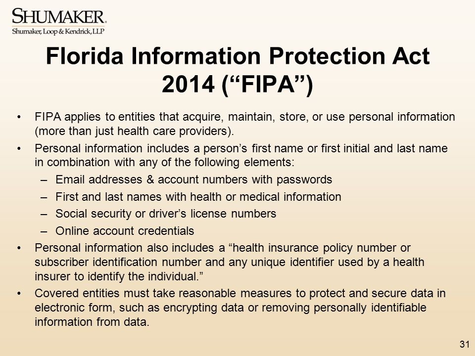 Florida Information Protection Act 2014 ( FIPA )