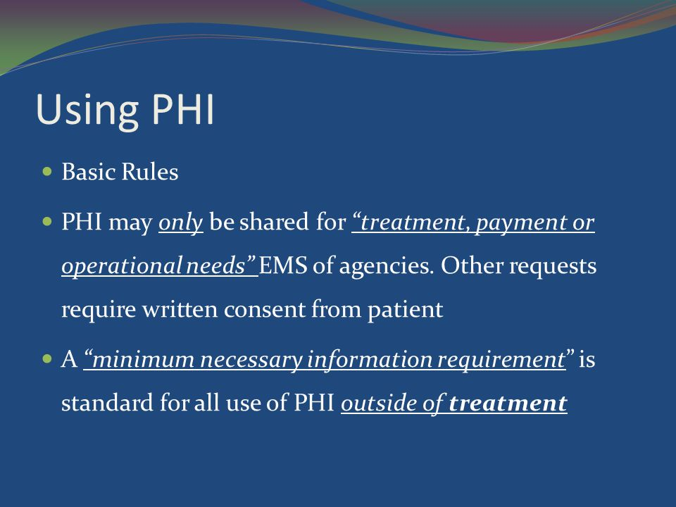 Using PHI Basic Rules.
