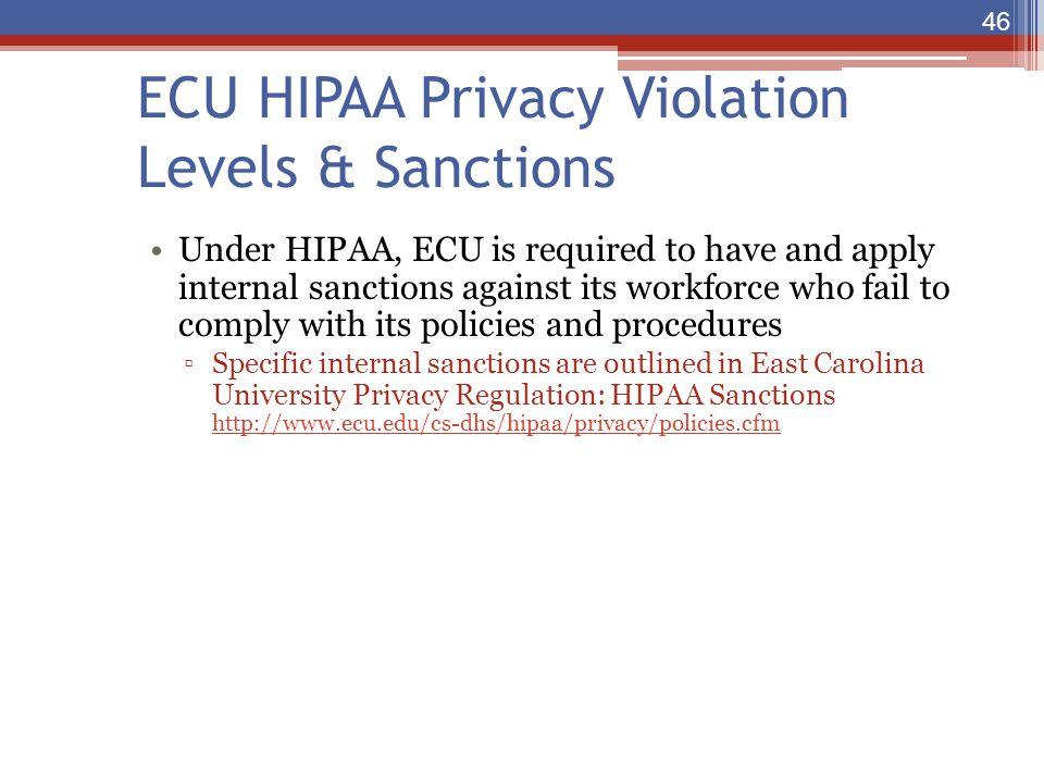 ECU HIPAA Privacy Violation Levels & Sanctions