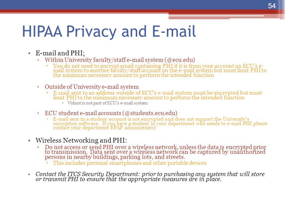 HIPAA Privacy and E-mail