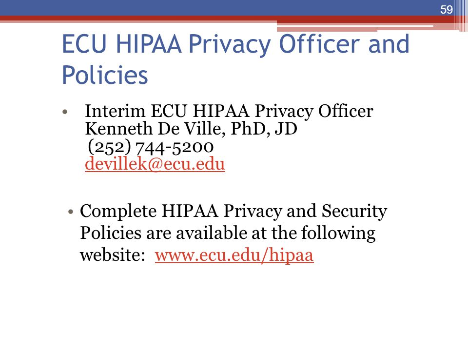 ECU HIPAA Privacy Officer and Policies