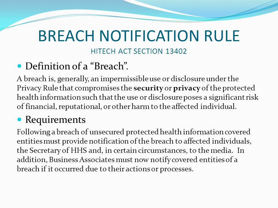 BREACH NOTIFICATION RULE HITECH ACT SECTION 13402