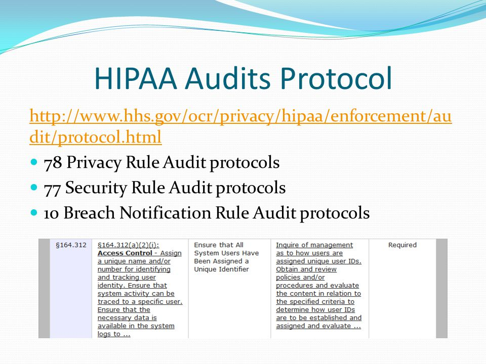 HIPAA Audits Protocol http://www.hhs.gov/ocr/privacy/hipaa/enforcement/audit/protocol.html. 78 Privacy Rule Audit protocols.