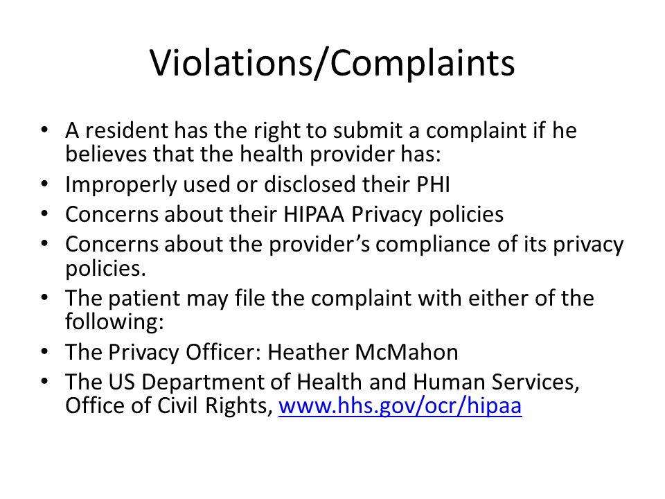 Violations/Complaints