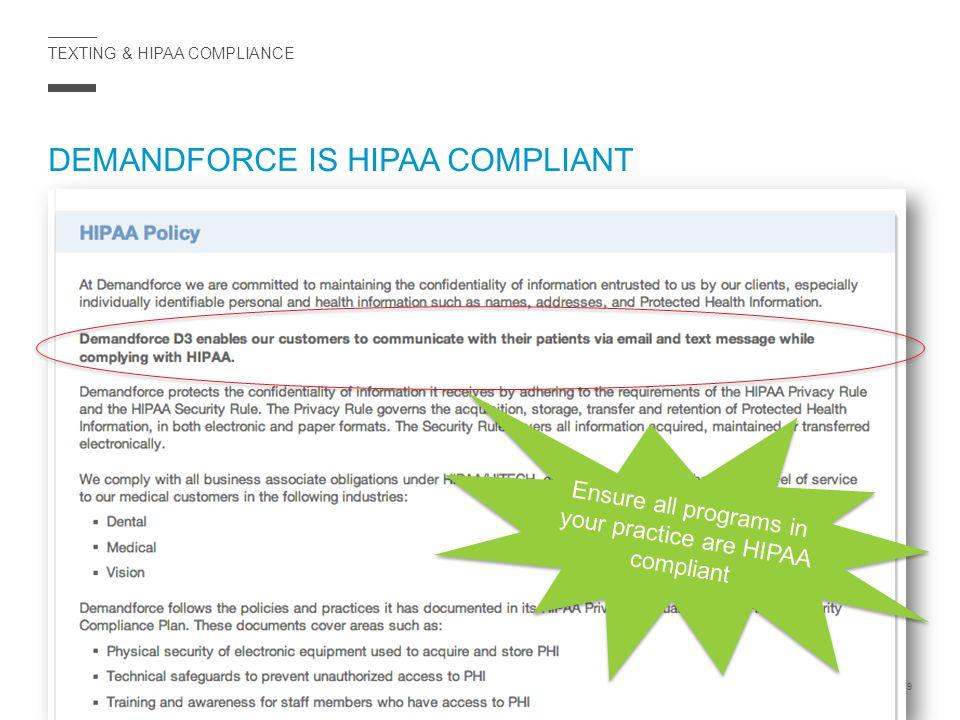 TEXTING & HIPAA COMPLIANCE