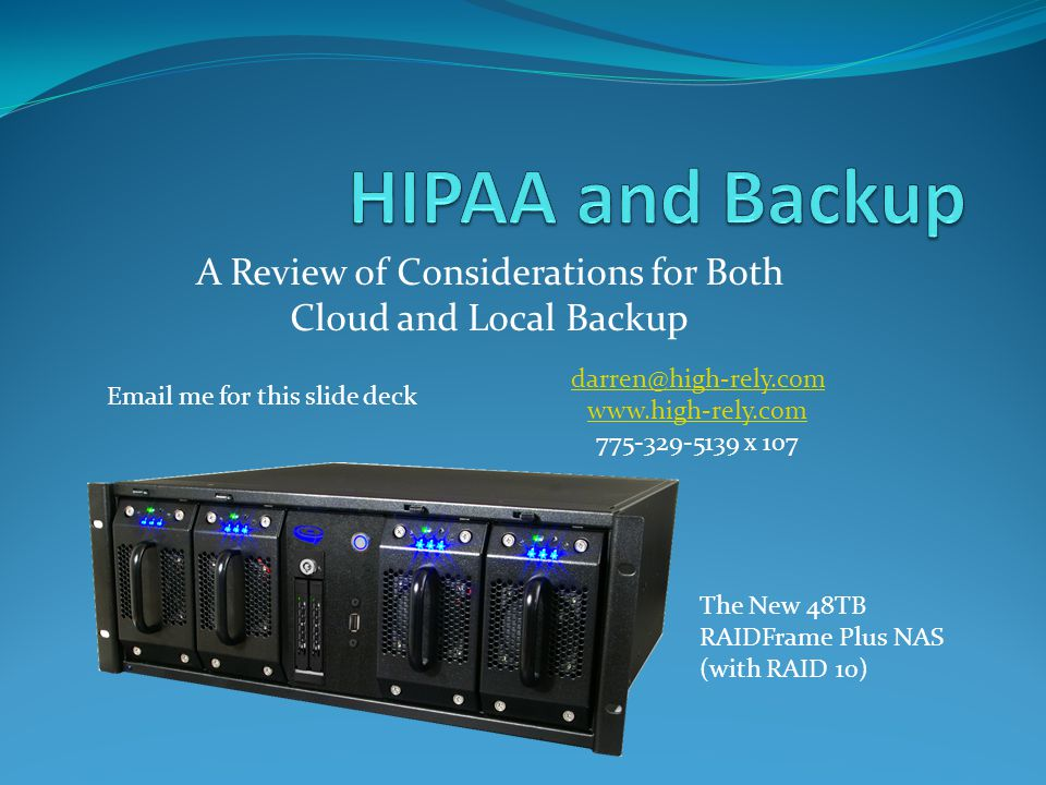 A Review of Considerations for Both Cloud and Local Backup