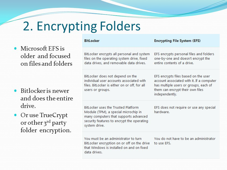 2. Encrypting Folders Microsoft EFS is older and focused on files and folders. Bitlocker is newer and does the entire drive.
