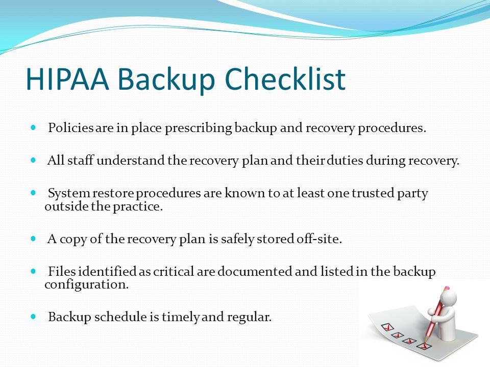 HIPAA Backup Checklist
