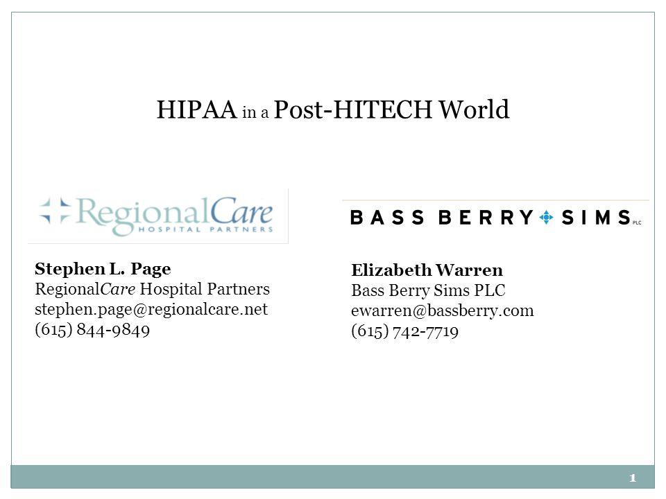 HIPAA in a Post-HITECH World