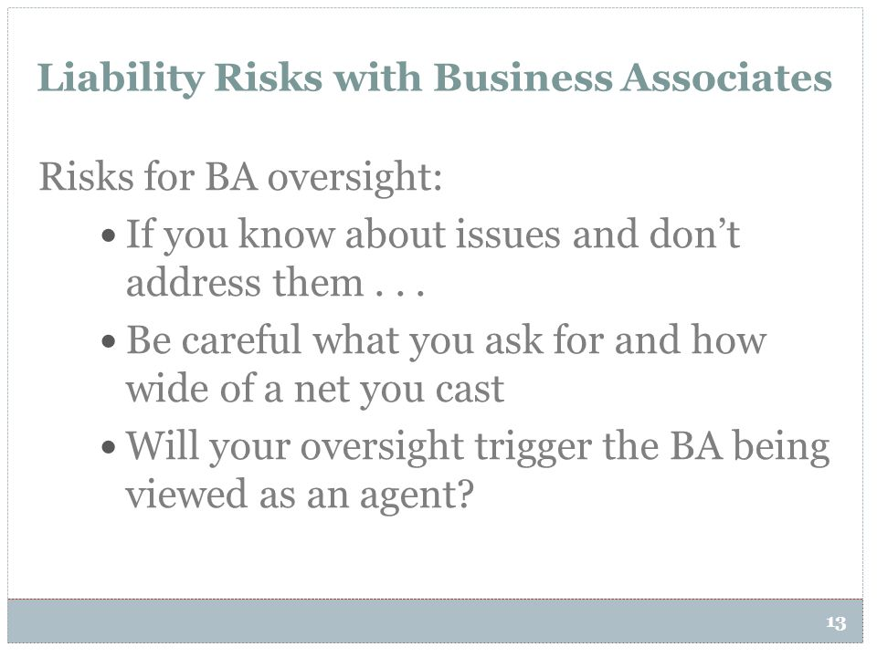 Liability Risks with Business Associates