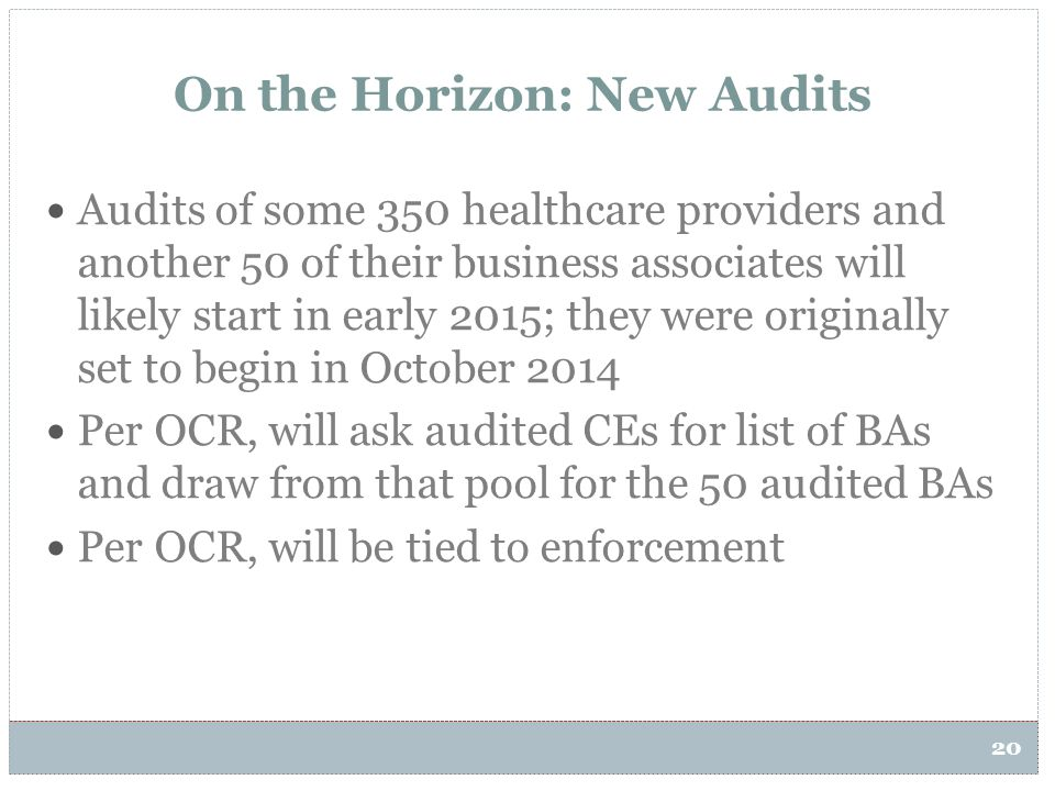 On the Horizon: New Audits