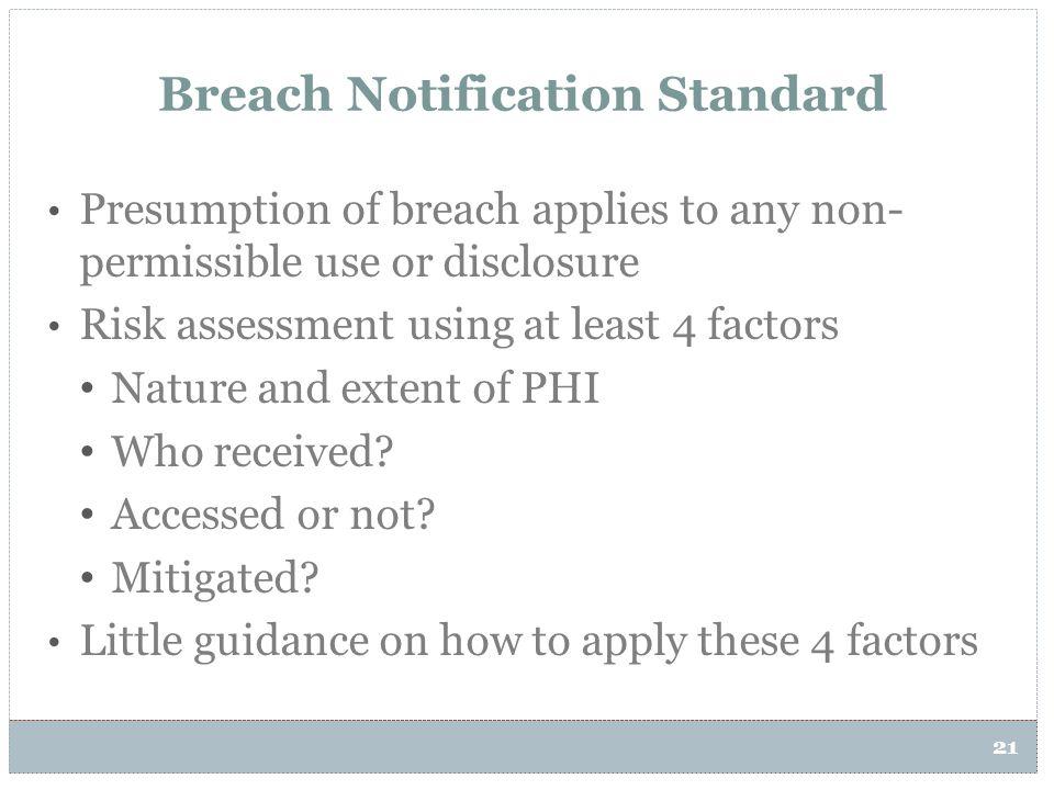 Breach Notification Standard