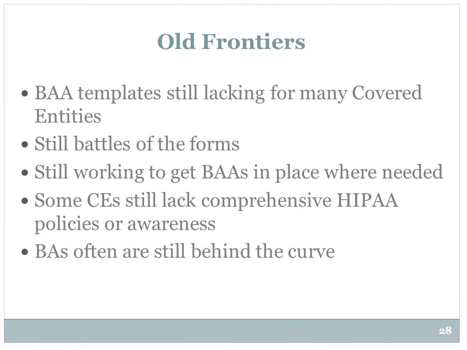 Old Frontiers BAA templates still lacking for many Covered Entities