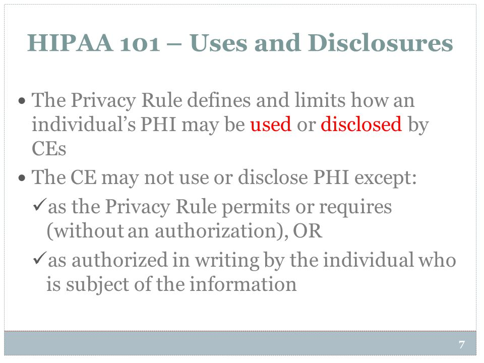 HIPAA 101 – Uses and Disclosures