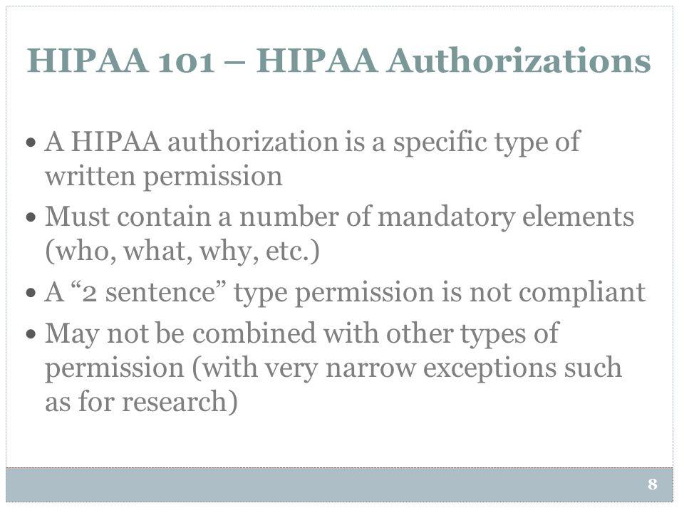 HIPAA 101 – HIPAA Authorizations