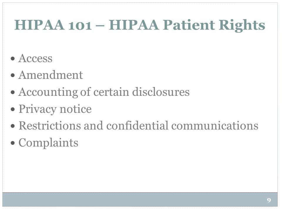HIPAA 101 – HIPAA Patient Rights