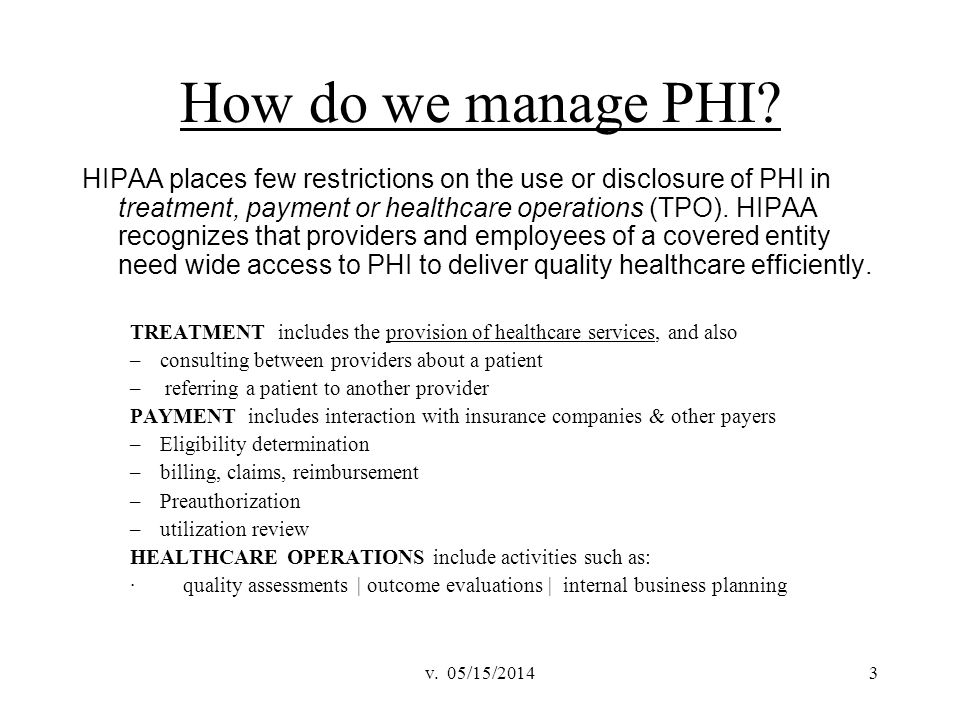 How do we manage PHI