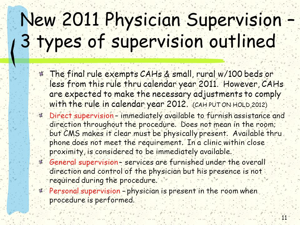 New 2011 Physician Supervision – 3 types of supervision outlined